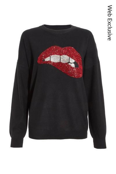 Black Sequin Lips Knitted Jumper